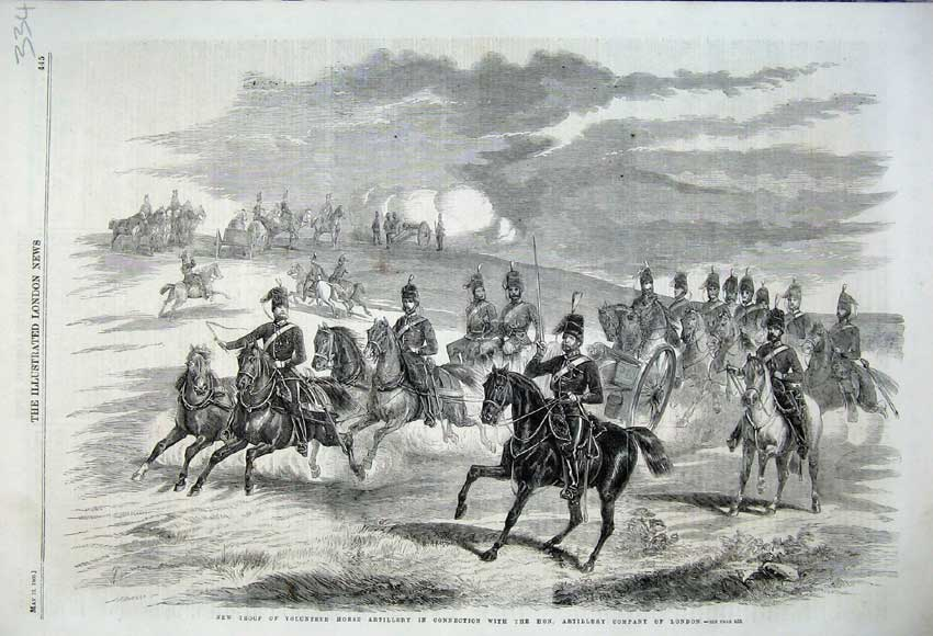 Print 1860 Troop Volunteer Horse Artillery London Horses 334N109 Old Original