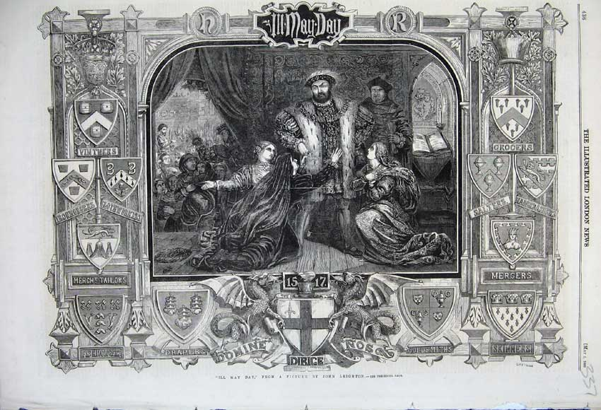 Print 1860 Ill May Day King Robes Shopping John Leighton 337N109 Old Original