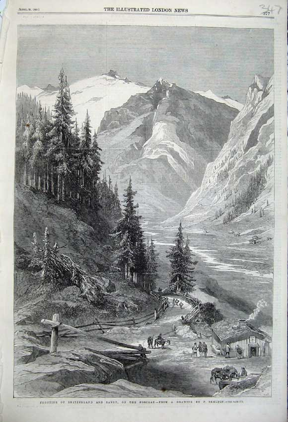 Print 1860 Frontier Switzerland Savoy Forclaz Mountians Snow 347N109 Old Original