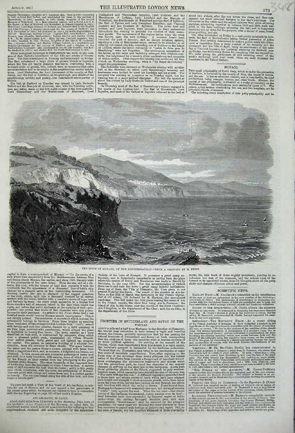 Print 1860 View Town Monaco Mediterranean Coast Sea Hills 348N109 Old Original