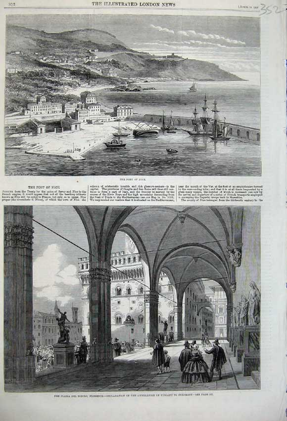 Print Port Nice France 1860 Piazza Popolo Florence Tuscany 352N109 Old Original