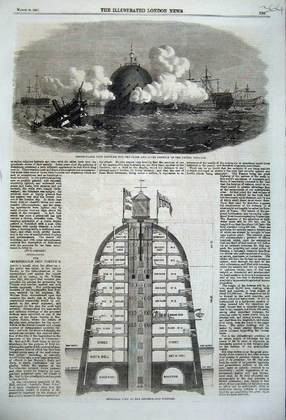 Print 1860 Impregnable Iron Fortress Coast River Defence 364N109 Old Original