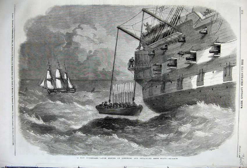 Print 1860 New System Lowering Detaching Ships Life-Boats 368N109 Old Original
