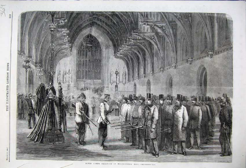 Print 1860 Rifle Corps Practice Westminster Hall Army Soldier 369N109 Old Original