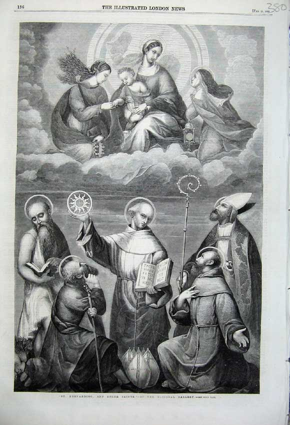 Print 1860 St Bernardino Saints Angels Clouds Holy Priest Men 380N109 Old Original