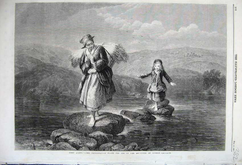 Print 1860 Woman Hay Grass Little Girl Stepping Stones River 382N109 Old Original