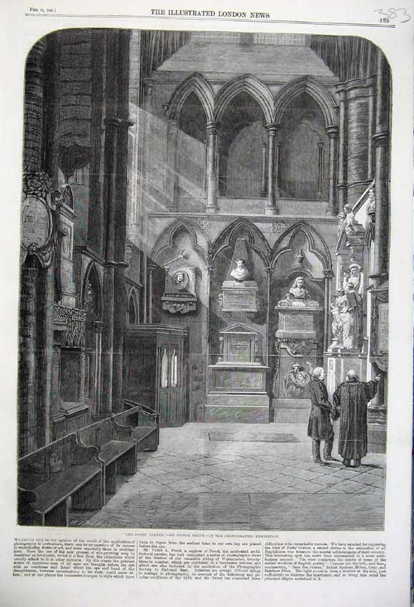 Print 1860 Poets Corner Interior Church Statues Victor Prout 383N109 Old Original