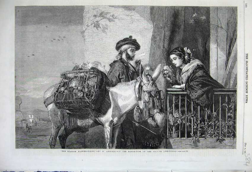 Print 1860 Spanish Flower Seller Donkey Basket Woman Man 384N109 Old Original