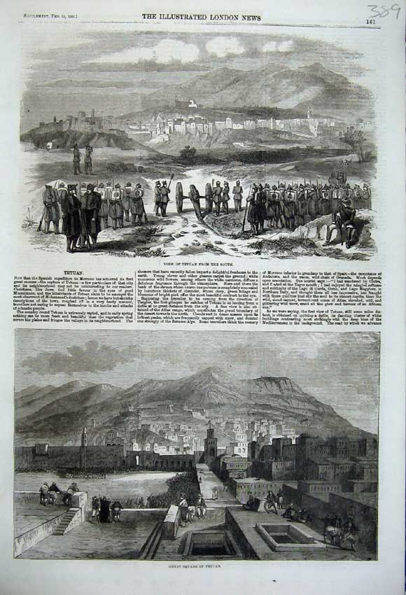 Print 1860 View Tetuan Great Square Army Mountains Morocco 389N109 Old Original