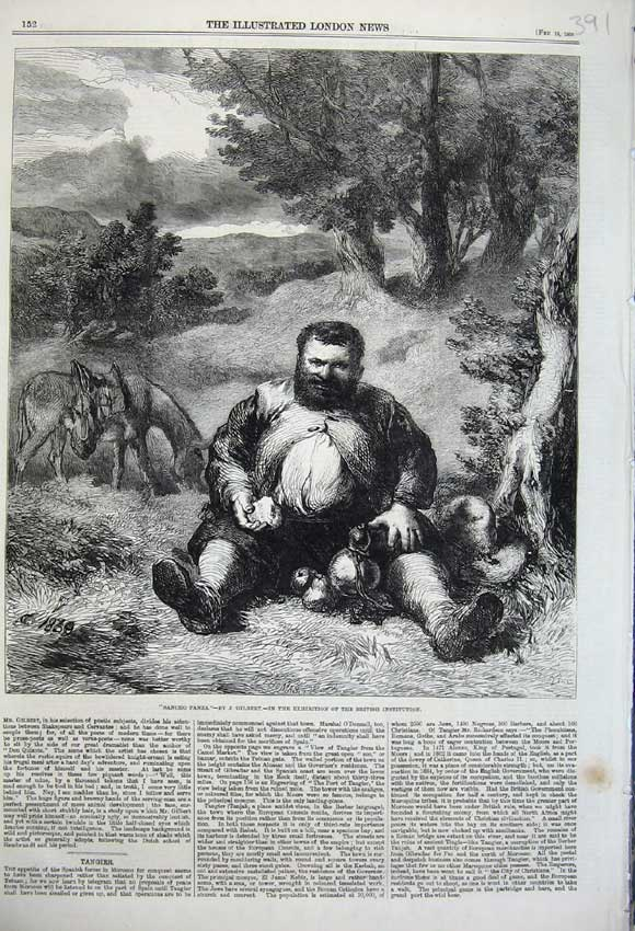 Print 1860 Sancho Panza Fat Man Eating Donkey Country Gilbert 391N109 Old Original