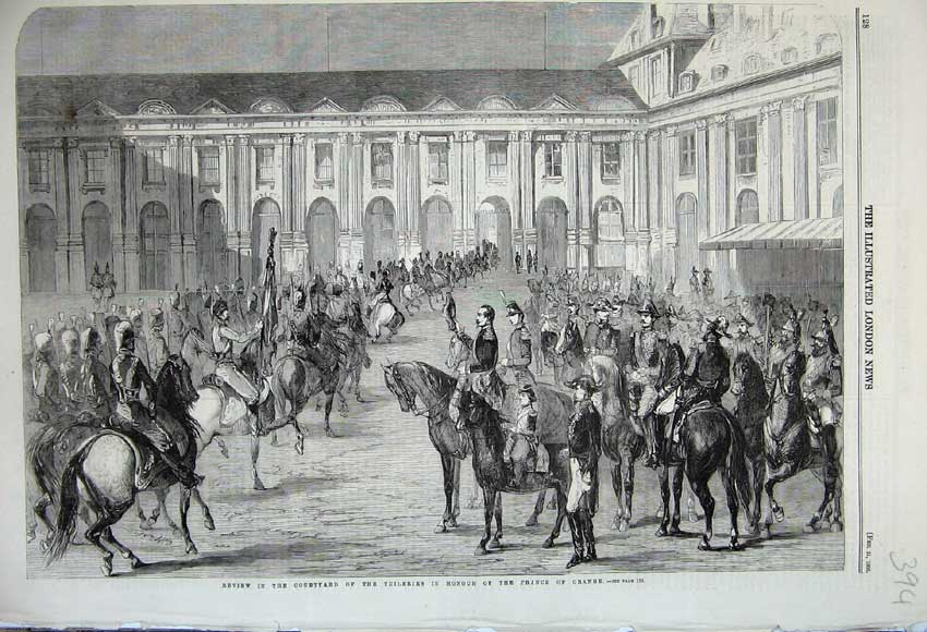 Print 1860 Courtyard Tuileries Honour Prince Orange Army War 394N109 Old Original