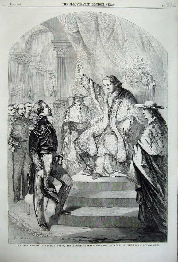 Print 1860 Pope General Goyon French Commander-In-Chief Rome 396N109 Old Original