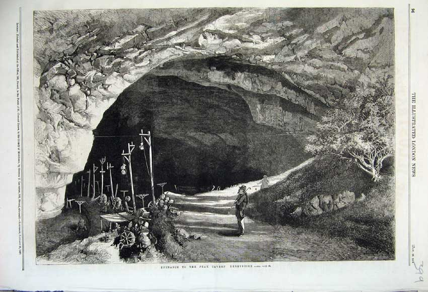 Print 1860 View Entrance Peak Cavern Derbyshire England 399N109 Old Original