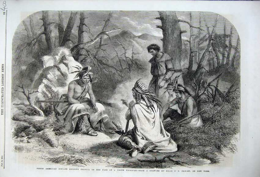 Print 1860 American Indians Council Fate White Prisoners War 400N109 Old Original