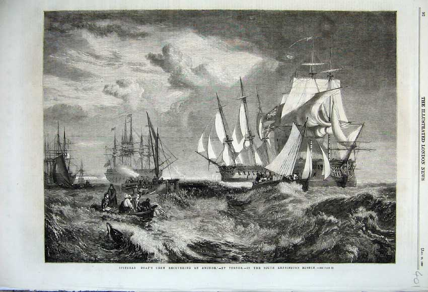 Print 1860 Spithead Boat Recovering Anchor Sailing Ship Sea 401N109 Old Original
