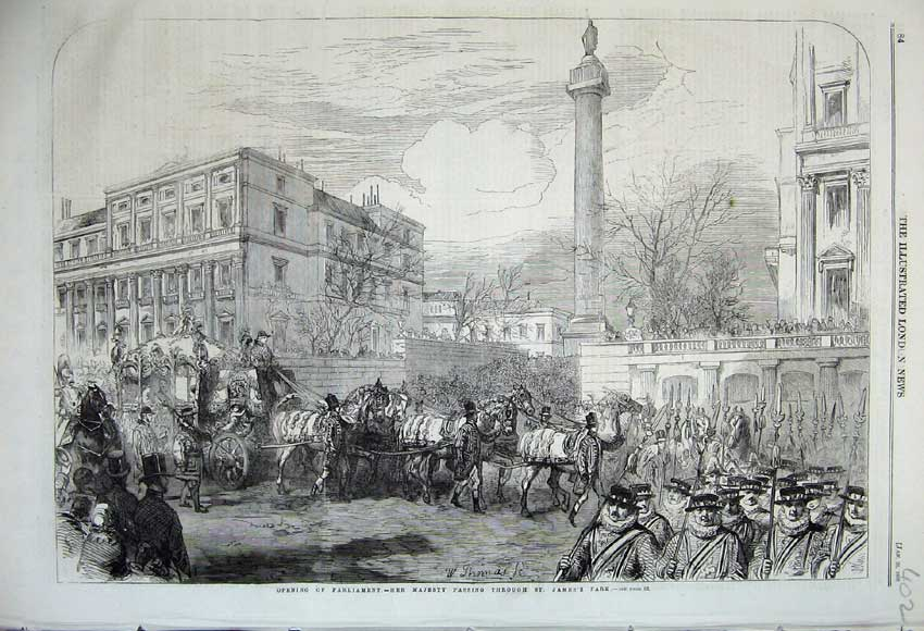Print 1860 Parliament Queen Passing Through James Park Coach 402N109 Old Original