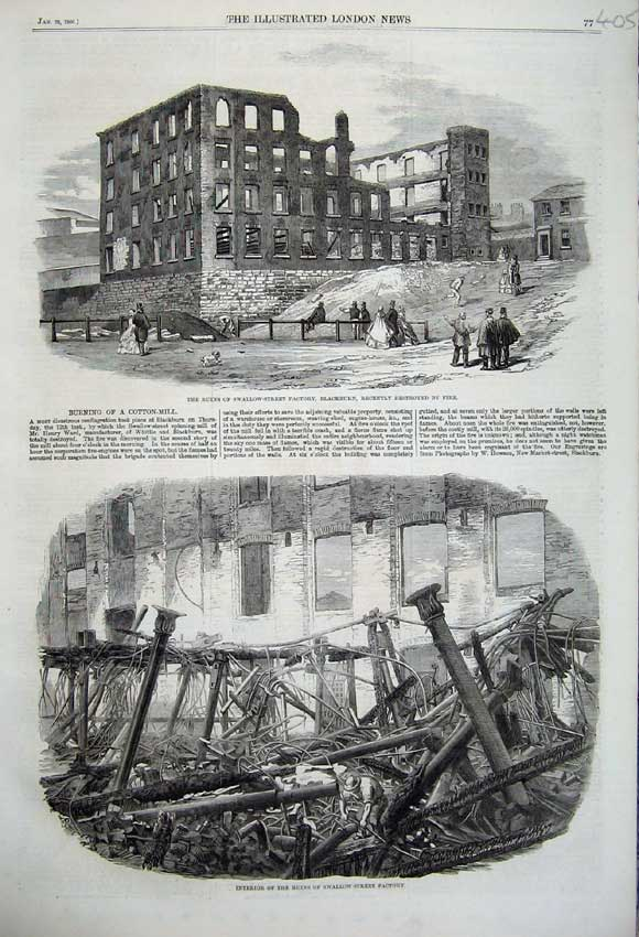 Print 1860 Ruins Swallow-Street Factory Blackburn Interior 405N109 Old Original