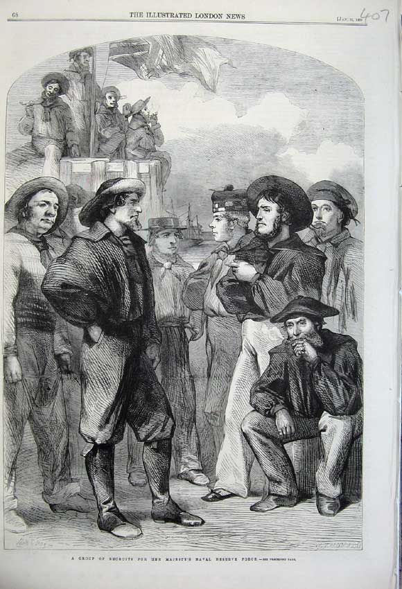 Print 1860 Group Recruits Majesty'S Naval Reserve Force War 407N109 Old Original