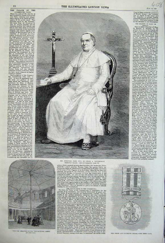Print 1860 Holiness Pope Pius Chapter Westminster Abbey Medal 408N109 Old Original