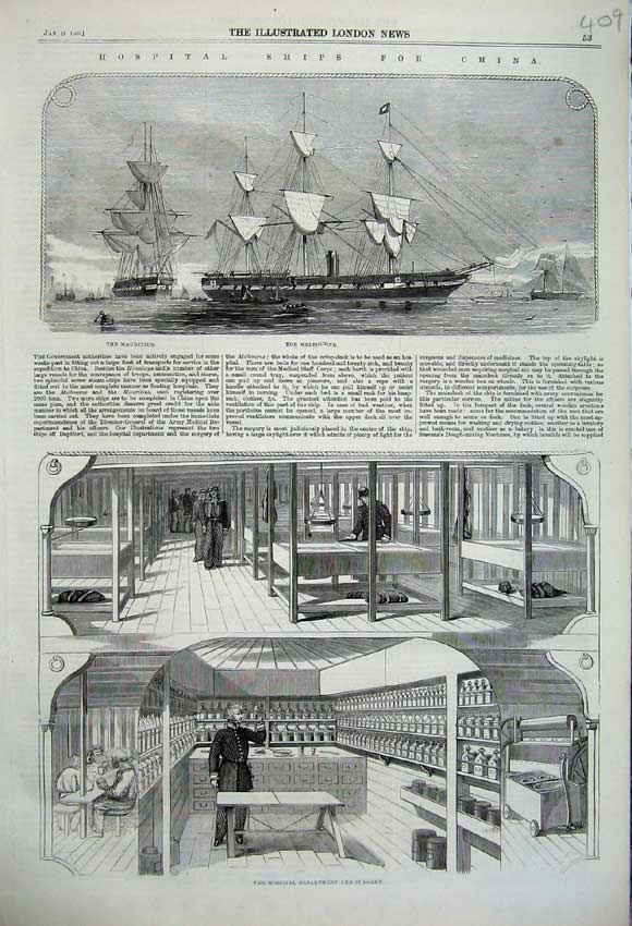Print 1860 Hospital Ship Melbourne China Surgery Department 409N109 Old Original