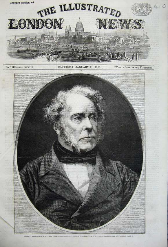 Print 1860 Portrait Viscount Palmerston Lord Treasury Man 410N109 Old Original