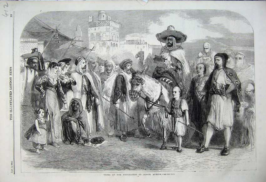 Print 1860 Types Population North Africa People Donkey 412N109 Old Original