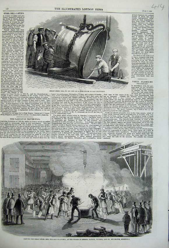 Print 1860 Great Steel Bell San Francisco Naylor Fire Alarm 414N109 Old Original