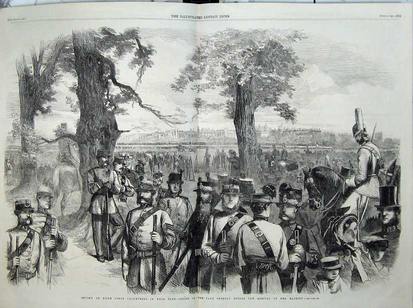 Print 1860 Rifle Corps Volunteers Hyde Park War Army Soldiers 501Tn109 Old Original