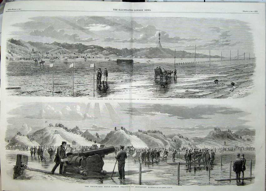 Print 1860 Whitworth Rifle Cannon Southport Sands Practice 507Tn109 Old Original