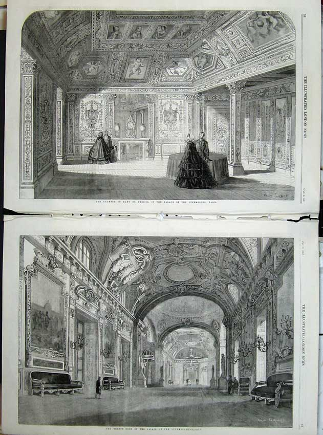 Print 1860 Throne Room Palace Luxembourg Chamber Mary Paris 508Tn109 Old Original