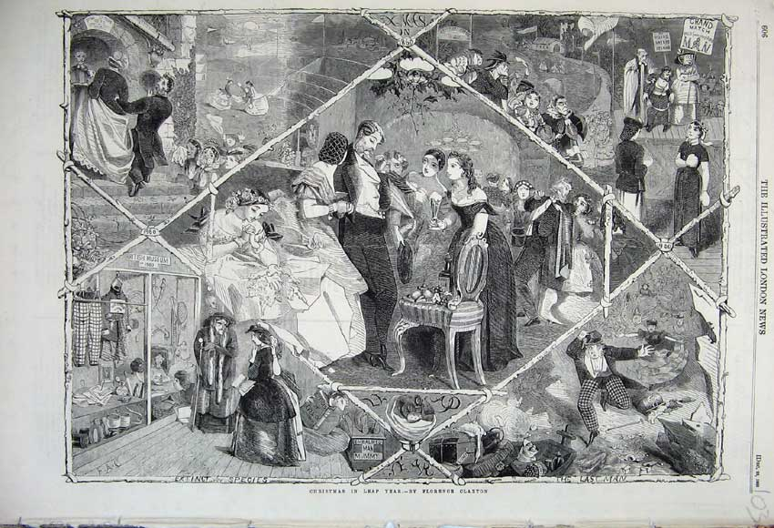 Print 1860 Christmas Leap Year Romance British Museum Comedy 103N110 Old Original