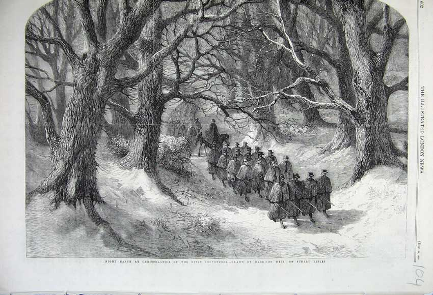 Print 1860 Night March Christmas Rifle Volunteers Soldiers 104N110 Old Original