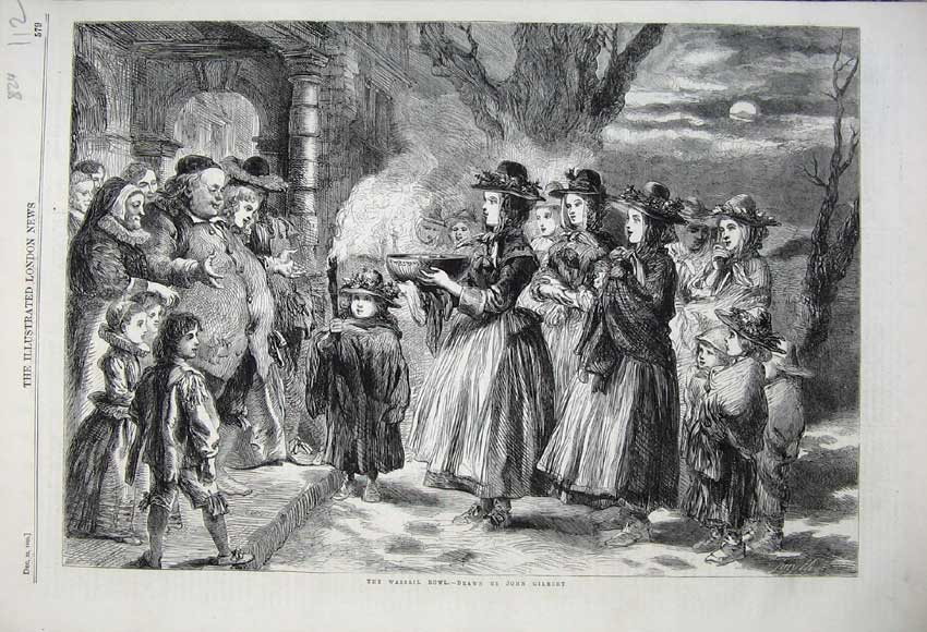 Print 1860 Wassail Bowl House People Moonlight Art Gilbert 112N110 Old Original