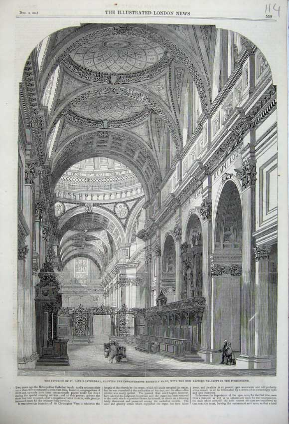 Print 1860 St Paul'S Cathedral Eastern Transept Church 114N110 Old Original