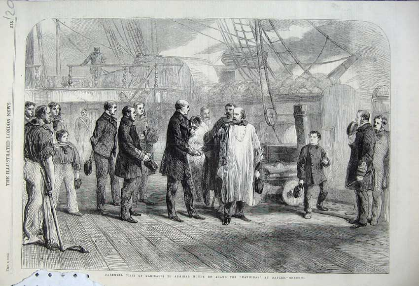 Print 1860 Garibaldi Admiral Mundy Hannibal Ship Naples War 120N110 Old Original