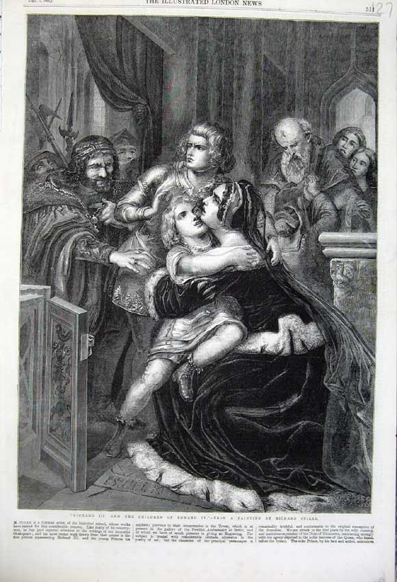 Print 1860 Richard Iii Children Edward Iv Sadness Art Stilke 127N110 Old Original