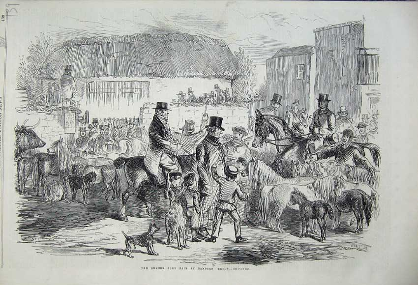 Print Exmoor Pony Fair Bampton Devon 1860 Horses Children 139N110 Old Original