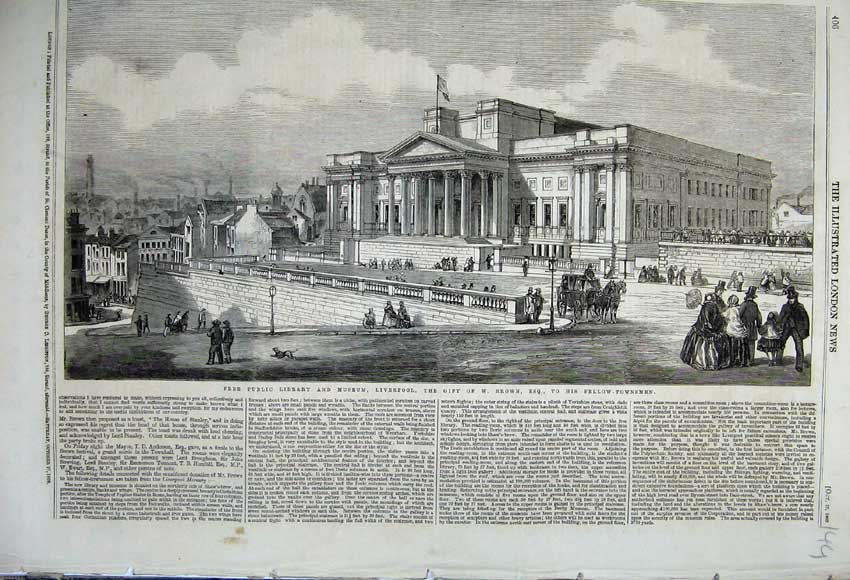 Print 1860 Free Public Library Museum Liverpool Street Brown 144N110 Old Original