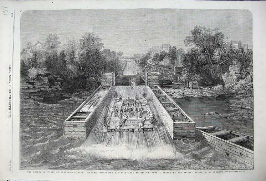 Print 1860 Prince Wales Canada Timber Slide Ottawa River 151N110 Old Original