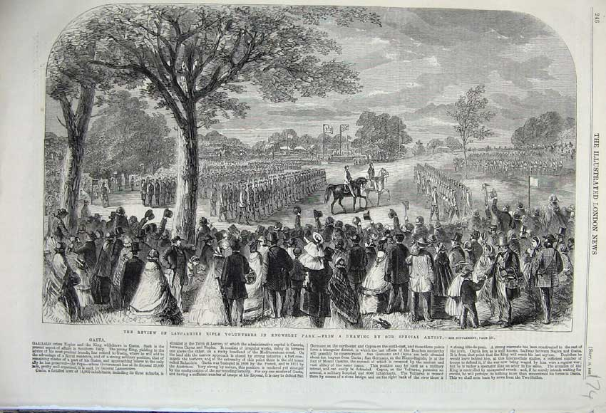 Print 1860 Review Lancashire Rifle Volunteers Knowsley Park 174N110 Old Original