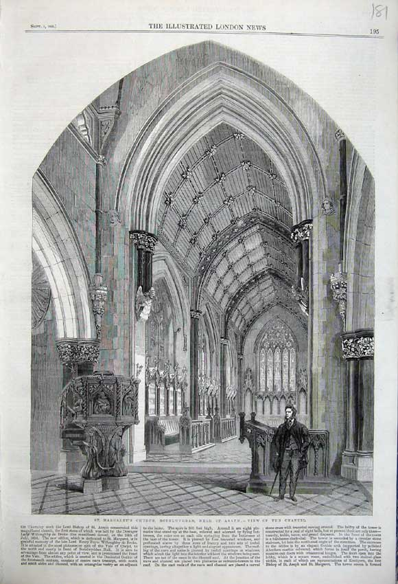 Print 1860 Interior St Margaret'S Church Bodelwyddan Man 181N110 Old Original