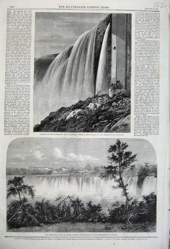 Print Horseshoe Water Fall Niagara 1860 American River Trees 182N110 Old Original