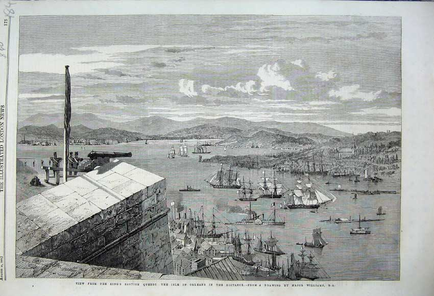 Print 1860 View King'S Bastion Quebec Isle Orleans Canada 184N110 Old Original