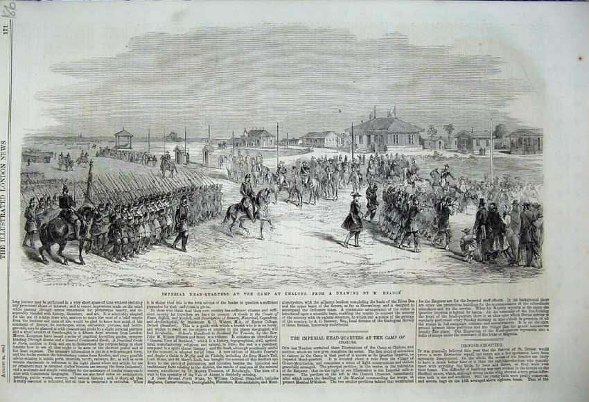 Print 1860 Imperial Head-Quarters Camp Chalons War Army 186N110 Old Original