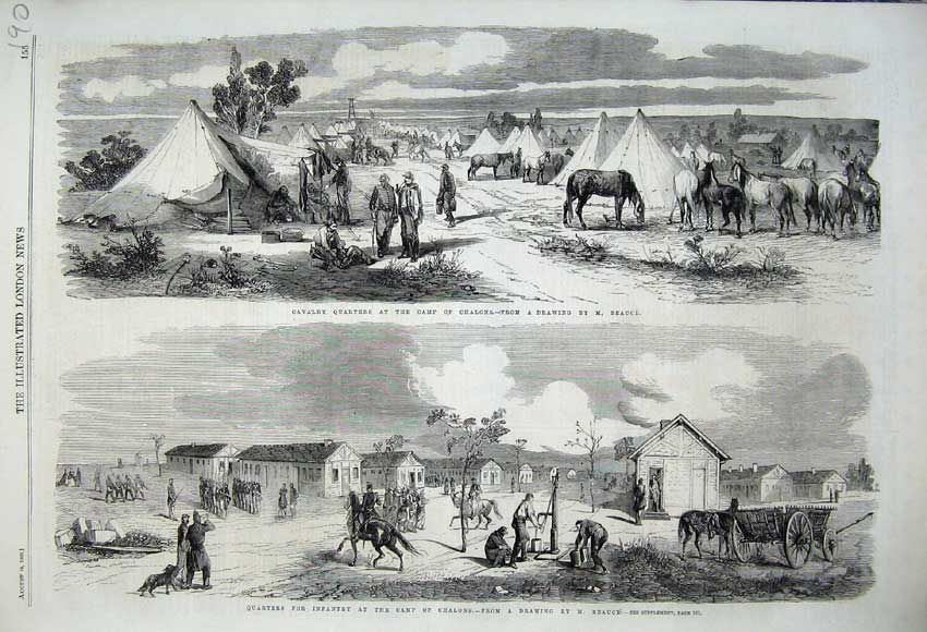 Print 1860 Cavlary Quarters Camp Chalons War Infantry Tents 190N110 Old Original
