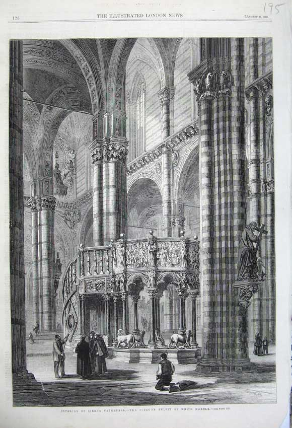 Print 1860 Interior Sienna Cathedral Octagon Pulpit Marble 195N110 Old Original