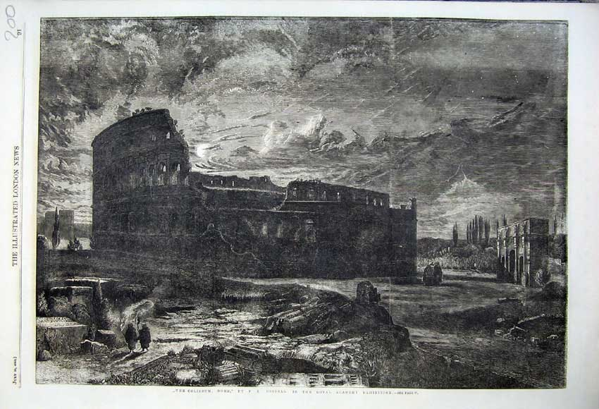 Print 1860 View Coliseum Rome Fine Art Bridell Royal Academy 200N110 Old Original