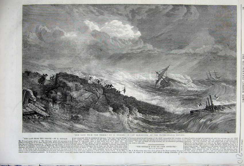 Print 1860 Ship Wreck Stormy Sea Rocks Rescue Duncan Fine Art 210N110 Old Original