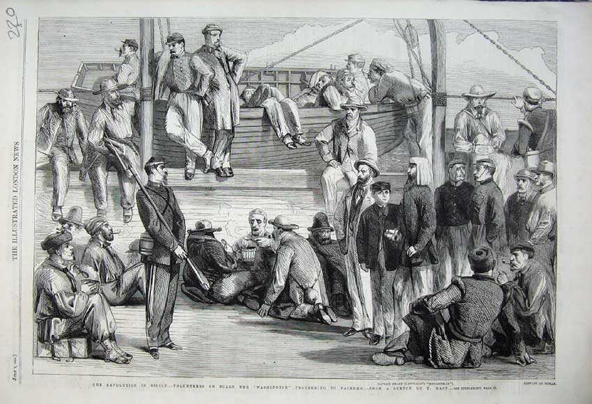 Print 1860 Sicily Volunteers Washington Ship Palermo Peard 220N110 Old Original