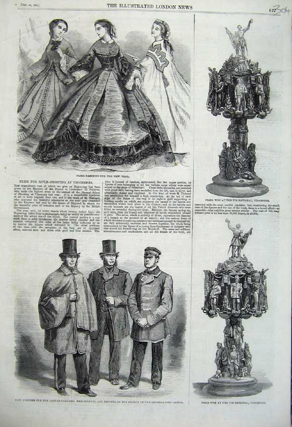 Print 1860 Paris Fashion Tir National Vincennes Post Men Mail 304N110 Old Original